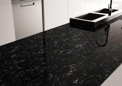 Plan de travail en marbre noir